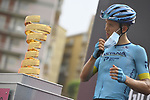 Astana Pro Team at sign on before the start of Stage 3 of the 103rd edition of the Giro d'Italia 2020 running 150km from Enna to Etna (Linguaglossa-Piano Provenzana), Sicily, Italy. 5th October 2020.  <br /> Picture: LaPresse/Marco Alpozzi   Cyclefile<br /> <br /> All photos usage must carry mandatory copyright credit (© Cyclefile   LaPresse/Marco Alpozzi)