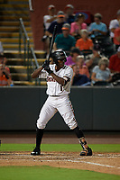 Delmarva Shorebirds JC Encarnacion (1) during a South Atlantic League game against the Greensboro Grasshoppers on August 21, 2019 at Arthur W. Perdue Stadium in Salisbury, Maryland.  Delmarva defeated Greensboro 1-0.  (Mike Janes/Four Seam Images)