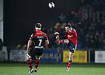 Full back JJ Hanrahan of Munster Rugby punts the ball up field.<br /> <br /> Guiness Pro 12<br /> Newport Gwent Dragons v Munster Rugby<br /> Rodney Parade<br /> 21.11.14<br /> ©Steve Pope-SPORTINGWALES
