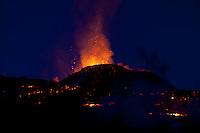 Volcano Eruption in Iceland, Fimmvorduhals. This eruption is between Eyjafjallajokull and Myrdalsjokull.