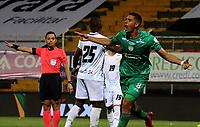BOGOTA-COLOMBIA, 18-09-2020: Pablo Sabbag de La Equidad, celebra el tercer gol anotado a Boyaca Chico F.C., durante partido entre La Equidad y Boyaca Chico F.C. de la fecha 9 por la Liga BetPlay DIMAYOR I 2020, jugado en el estadio Metropolitano de Techo en la ciudad de Bogota. / Pablo Sabbag of La Equidad celebrates the third scored goal to Boyaca Chico F.C., during a match La Equidad and Boyaca Chico F.C., of the 9th date for of BetPlay DIMAYOR League I 2020 at the Metropolitano de Techo stadium in Bogota city. / Photo: VizzorImage  / Santiago Cortes / Cont.