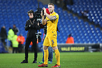 Tom Clarke of Preston North End with his man of the match award after the final whistle of the Sky Bet Championship match between Cardiff City and Preston North End at the Cardiff City Stadium, Wales, UK. Friday 29 December 2017