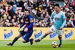 Lionel Messi of FC Barcelona (L) competes for the ball with Facundo Roncaglia of RC Celta de Vigo (R) during the La Liga 2017-18 match between FC Barcelona and RC Celta de Vigo at Camp Nou Stadium on 02 December 2017 in Barcelona, Spain. Photo by Vicens Gimenez / Power Sport Images
