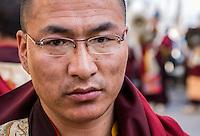 Nepal, Kathmandu, Swayambhunath.  Young Tibetan Buddhist Monk.