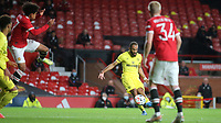 Brentford's Bryan Mbeumo takes a shot at the Manchester United goal from a free-kick during Manchester United vs Brentford, Friendly Match Football at Old Trafford on 28th July 2021