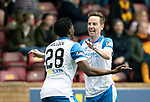 Motherwell v St Johnstone…05.05.18…  Fir Park    SPFL<br />Steven MacLean celebrates his second goal with Matty Willock<br />Picture by Graeme Hart. <br />Copyright Perthshire Picture Agency<br />Tel: 01738 623350  Mobile: 07990 594431