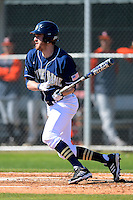 Notre Dame Fighting Irish outfielder Charlie Markson #20 at bat during a game against the Mercer Bears at Buck O'Neil Complex on February 17, 2013 in Sarasota, Florida.  Mercer defeated Notre Dame 5-4.  (Mike Janes/Four Seam Images)