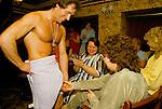 HEN PARTY, MALE STRIPPER BRIAN JASON, AKA 'KING DICK', PERFORMING, THE DUKE OF CAMBRIDGE PUB, SOUTH LONDON. 1980S.