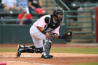 Hickory Crawdads catcher Melvin Novoa (32) makes a play on a ball at homeplate during the game with the Charleston Riverdogs at L.P. Frans Stadium on May 12, 2019 in Hickory, North Carolina.  The Riverdogs defeated the Crawdads 13-5. (Tracy Proffitt/Four Seam Images)