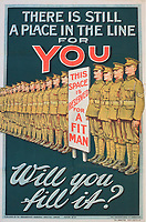 """BNPS.co.uk (01202) 558833<br /> Pic: Onslows/BNPS<br /> <br /> WW1 recruitment posters part of the poster sale """"There is Still A Place For You"""" <br /> <br /> An incredibly-rare poster that was the forerunner for the famous 'Your Country Wants You' World War One recruitment advert has been discovered. <br /> The poster, featuring Lord Kitchener pointing his finger, was a news stand advert for an edition of the magazine London Opinion in September 1914.<br /> Officials from the War Office spotted it and decided they wanted the same design for their nationwide recruitment campaign for young men to join the army."""