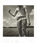 Brendan at Moosehead Lake, ME. making muscle. 1998. Vintage prints, Agfa Brovira 111, 98-085-G #2 file#