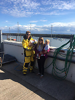 2019 08 15 Lifeboat volunteer Chris White delivers baby at Barry Dock Lifeboat Station, Wales, UK