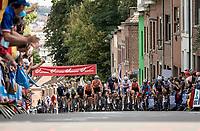 peloton cheered up the Wijnpersstraat (Leuven local loop)<br /> <br /> U23 - Road Race (WC)<br /> race from Antwerp to Leuven (161.1km)<br /> <br /> UCI Road World Championships - Flanders Belgium 2021<br /> <br /> ©kramon
