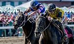 OCEANPORT, NJ - JULY 29: Berned, #8, ridden by Joe Bravo, wins the Molly Pitcher Stakes on Haskell Invitational Day at Monmouth Park Race Course on July 29, 2018 in Oceanport, New Jersey. (Photo by Scott Serio/Eclipse Sportswire/Getty Images)