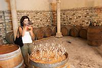 Radost filming in the cellar. Cobo winery, Poshnje, Berat. Albania, Balkan, Europe.