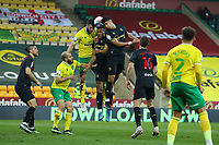 20th April 2021; Carrow Road, Norwich, Norfolk, England, English Football League Championship Football, Norwich versus Watford; Adam Masina of Watford competes for a header with Grant Hanley of Norwich City