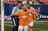 Houston Dynamo defender Wade Barrett (24) helps set up the defense on a set play. The New York Red Bulls defeated the Houston Dynamo 3-0 during a Major League Soccer match at Giants Stadium in East Rutherford, NJ, on August 24, 2008.