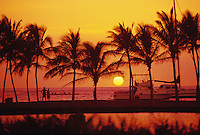 Sunset at Anaehoomalu bay, Waikaloa, Kohala coast of the Big Island