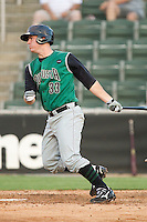 Tommy Joseph #33 of the Augusta GreenJackets follows through on his swing against the Kannapolis Intimidators at Fieldcrest Cannon Stadium June 24, 2010, in Kannapolis, North Carolina.  Photo by Brian Westerholt / Four Seam Images