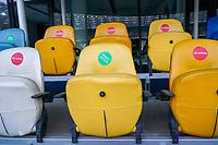 Leere Sitze mit Sitzhinweisen für die wenigen Besucher und Offiziellen im Olympiastadion in Kiew<br /> - 09.10.2020: Abschlusstraining Deutschland, Olympiastadion Kiew DISCLAIMER: DFB regulations prohibit any use of photographs as image sequences and/or quasi-video.