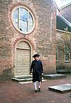 Bruton Parish Church, Benjamin Franklin walks in autumn leaves at church court yard Colonial Williamsburg Virginia, Fine Art Photography by Ron Bennett, Fine Art, Fine Art photography, Art Photography, Copyright RonBennettPhotography.com ©