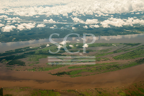 Manaus, Brazil. Aerial view of flooded archipelago in the Amazon river.