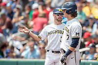 Michigan Wolverines assistant coach Michael Brdar (36) talks with Jesse Franklin (7) during Game 11 of the NCAA College World Series against the Texas Tech Red Raiders on June 21, 2019 at TD Ameritrade Park in Omaha, Nebraska. Michigan defeated Texas Tech 15-3 and is headed to the CWS Finals. (Andrew Woolley/Four Seam Images)
