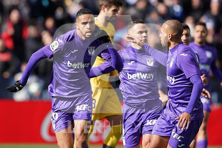 CD Leganes' Youssef En-Nesyri (l) and Martin Braithwaite celebrate goal during La Liga match. November 23,2019. (ALTERPHOTOS/Acero)