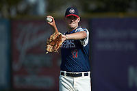 High Point-Thomasville HiToms pitcher Ryan Cusick (17) (Wake Forest) warms up in the outfield prior to the game against the Deep River Muddogs at Finch Field on June 27, 2020 in Thomasville, NC.  The HiToms defeated the Muddogs 11-2. (Brian Westerholt/Four Seam Images)