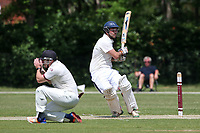 Craig Perrin hits 4 runs for  Harold Wood during Brentwood CC (bowling) vs Harold Wood CC, Hamro Foundation Essex League Cricket at The Old County Ground on 12th June 2021