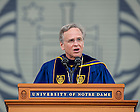 May 15, 2015; Rev. John I. Jenkins, C.S.C., president of the University of Notre Dame, speaks at the 2015 Commencement ceremony in Notre Dame Stadium. (Photo by Barbara Johnston/University of Notre Dame)