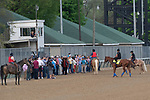 LOUISVILLE, KY - MAY 3: A crowd gathers to see Justify, trained by Bob Baffert,  at Churchill Downs on May 3, 2018 in Louisville, Kentucky. (Photo by Eric Patterson/Eclipse Sportswire/Getty Images)