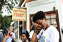 Members of the Baby Doll Sisterhood second line in memory of Baby Doll Tee Eva Perry, who died at 83 on June 7, in New Orleans, La. Monday, June 11, 2018.  Janai Steib mourns her great aunt Tee Eva.
