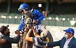 """Octover 03, 2020 : #4 Essential Quality and jockey Luis Saez win the 107th running of The Claiborne Breeders' Futurity (Grade 1) $400,000 """"Win and You're In Breeders' Cup Juvenile Division"""" for owner Godolphin amd trainer Brad Cox at Keeneland Racecourse in Lexington, KY on October 03, 2020.  Candice Chavez/ESW/CSM"""