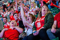 Welsh supporters in the UEFA EURO 2016 fan zone set up in the Principality Stadium, Cardiff, Wales, Britain, 6 July 2016, watching Portugal vs Wales EURO 2016 semi-final match. Athena Picture Agency/ALED LLYWELYN/ATHENA PICTURES