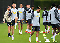14th September 2021: The  AXA Training Centre, Kirkby, Knowsley, Merseyside, England: Liverpool FC training ahead of Champions League game versus AC Milan on 15th September: Jordan Henderson of Liverpool warms up with his team mates