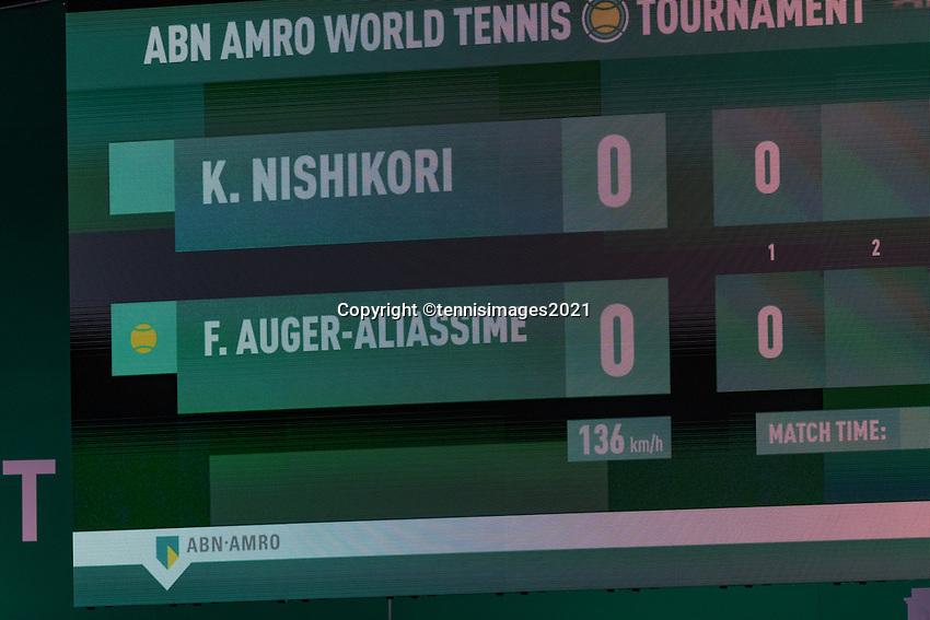 Rotterdam, The Netherlands, 28 Februari 2021, ABNAMRO World Tennis Tournament, Ahoy, First round match: Kei Nishikori (JPN) vs Felix Auger-Aliassime (CAN).<br /> Photo: www.tennisimages.com/henkkoster