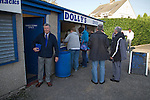 Lancaster City 0 FC Halifax Town 3, 15/10/2011, Giant Axe, FA Cup Third Qualifying Round. Spectators buying refreshments from a snack bar insdie Lancaster City's Giant Axe ground prior to the club's FA Cup third qualifying round match against FC Halifax Town. The visitors, who play two leagues above their hosts in the English football pyramid, won the ties by three goals to nil, watched by a crowd of 646 spectators. Lancaster City were celebrating their centenary in 2011, although there was a dispute over the exact founding date over the club known as Dolly Blue. Photo by Colin McPherson.