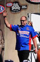 Feb. 27, 2011; Pomona, CA, USA; NHRA top fuel dragster driver Mike Strasburg during the Winternationals at Auto Club Raceway at Pomona. Mandatory Credit: Mark J. Rebilas-.
