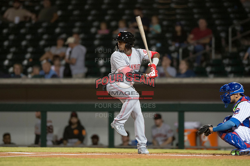 Scottsdale Scorpions second baseman Shed Long (6), of the Cincinnati Reds organization, at bat in front of catcher Jhonny Pereda (6) during an Arizona Fall League game against the Mesa Solar Sox at Sloan Park on October 10, 2018 in Mesa, Arizona. Scottsdale defeated Mesa 10-3. (Zachary Lucy/Four Seam Images)