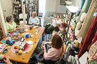 STAFF PHOTO ANTHONY REYES • @NWATONYR<br /> A crocheting and knitting class Thursday, Sept. 18, 2014 at Mockingbird Moon in Rogers.