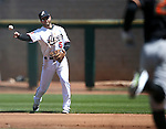 Reno Aces' Mike Freeman makes a play against the Fresno Grizzlies at Greater Nevada Field in Reno, Nev., on Tuesday, April 26, 2016. <br />