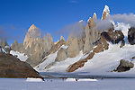 Camp with Cerro Torre Group in background, Patagonia Ice Cap, Los Glaciares National Park, Argentina