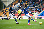 St Johnstone v Dundee…02.10.21  McDiarmid Park.    SPFL<br />Stevie May squares the ball for Chris Kane to score saints second goal<br />Picture by Graeme Hart.<br />Copyright Perthshire Picture Agency<br />Tel: 01738 623350  Mobile: 07990 594431