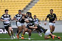 Neria Fomai of Hawkes Bay is tackled during the Bunnings NPC - Wellington v Hawke's Bay at Sky Stadium, Wellington, New Zealand on Sunday 26 September 2021.<br /> Photo by Masanori Udagawa. <br /> www.photowellington.photoshelter.com