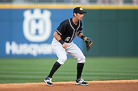 Charlotte Knights shortstop Drew Garcia (2) on defense against the Louisville Bats at BB&T BallPark on May 12, 2015 in Charlotte, North Carolina.  The Knights defeated the Bats 4-0.  (Brian Westerholt/Four Seam Images)