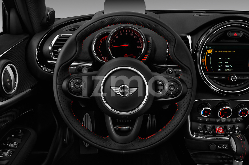 Car pictures of steering wheel view of a 2018 Mini Clubman John Cooper Works 5 Door Wagon