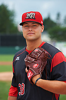 Batavia Muckdogs pitcher Vincenzo Aiello (38) poses for a photo before a game against the Tri-City ValleyCats on July 15, 2017 at Dwyer Stadium in Batavia, New York.  Tri-City defeated Batavia 5-4.  (Mike Janes/Four Seam Images)