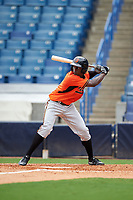 Taylor Trammell (1) of Mount Paran Christian School in Powder Springs, Georgia playing for the Baltimore Orioles scout team during the East Coast Pro Showcase on July 28, 2015 at George M. Steinbrenner Field in Tampa, Florida.  (Mike Janes/Four Seam Images)
