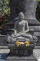 Borobudur, Java, Indonesia.  Mendut Buddhist Monastery. Buddha Shrine, in the Bhumisparsha Mudra (Gesture), calling the earth to be his witness, representing the moment the Buddha achieved enlightenment.